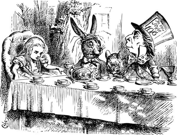 Mad Hatter's Tea Party, Alice in Wonderland original vintage engraving